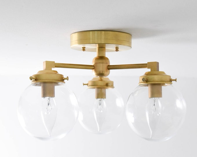 Semi Flush Ceiling Light - Raw Brass - Mid Century - Modern - Industrial - Candelabra - 5 Inch Globe - UL Listed [HAWTHORNE]