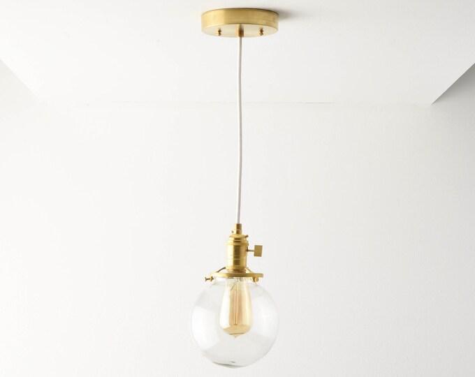 Globe Pendant Light - Raw Brass - Mid Century - Modern - Industrial - Clear Glass Globe - Cloth Wire - Canopy - Edison Bulb [ROSLYN]