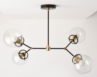 Atlanta Chandelier [Black & Brass - Mid Century - Industrial - Modern - Sputnik - 2 Arm - 4 Light - 6 inch - Clear Globe - UL Listed]