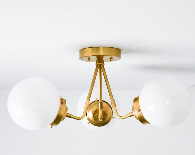 Semi Flush Ceiling Light - Raw Brass - Mid Century - Industrial - Modern - Glass Globe - Ceiling Lighting - UL Listed [FRESNO]