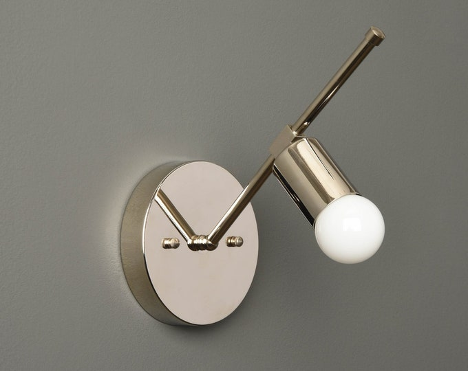 Modern Wall Sconce - Polished Nickel - Mid Century - Industrial - Wall Light - Bathroom Vanity - UL Listed [LONGMONT]