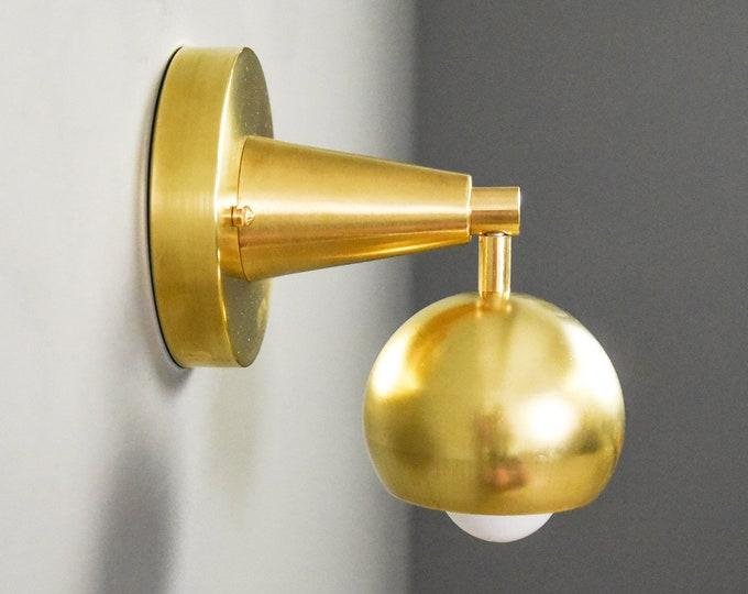 Wall Sconce - Raw Brass - Mid Century - Modern - Industrial - Wall Light - Bathroom Vanity - Art Light - UL Listed [CRESTONE]