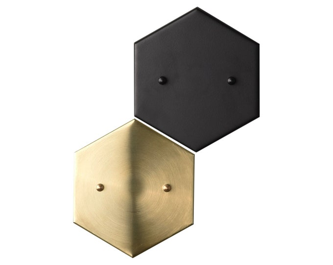 Add a Hexagon Canopy to Any Fixture - (Raw Brass or Matte Black Only)