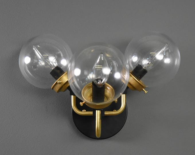 Wall Sconce - Black & Brass - Mid Century - Modern - Industrial - Clear 5 Inch Glass Globe - Wall Light - Candelabra - UL Listed [DESTIN]