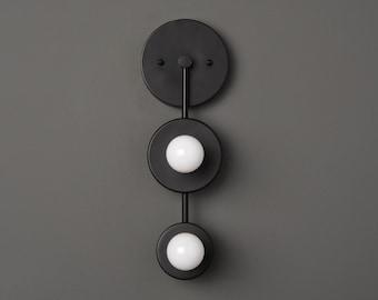 Aledo Wall Sconce [Matte Black - Mid Century - Modern - Industrial - Vanity - 2 Bulb - Art Light - Bathroom - UL Listed]