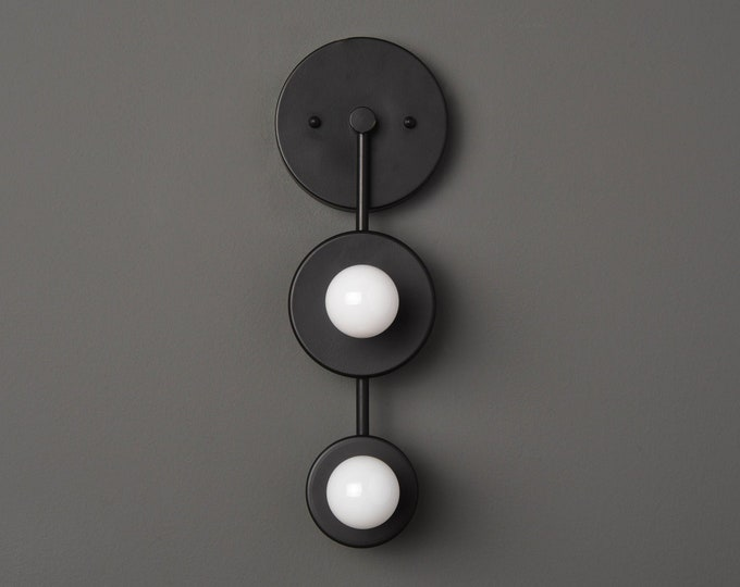 Wall Sconce - Matte Black - Mid Century - Modern - Industrial - 2 Bulb - Art Light - Bathroom Vanity - UL Listed [ALEDO]