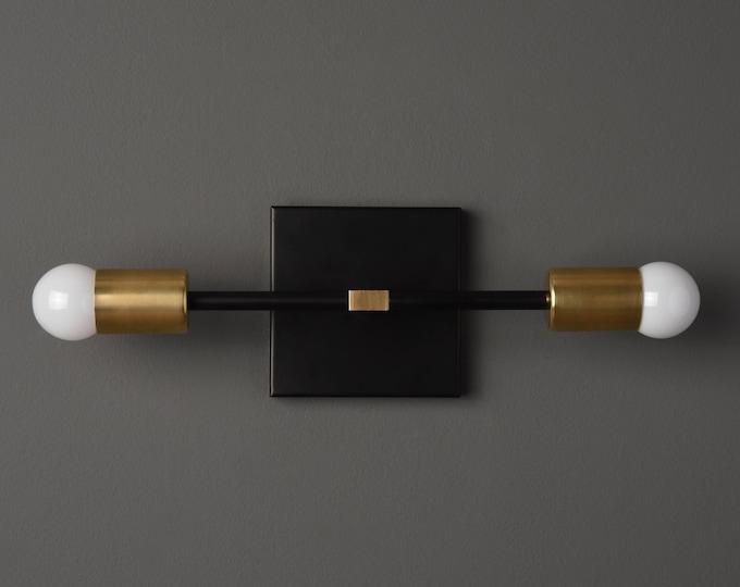 Modern Wall Sconce - Black & Brass - Mid Century - Industrial - Wall Light - Bathroom Vanity - UL Listed [BELEN]