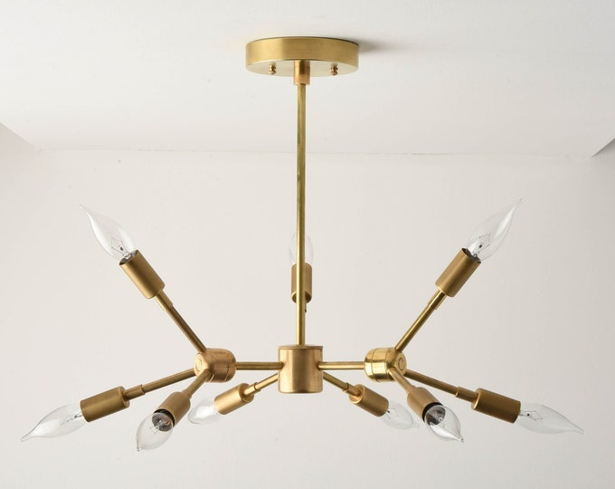 Sputnik Chandelier - Raw Brass - Mid Century - Industrial - Modern - Tree Branch - Candelabra - UL Listed [REYKJAVIK]