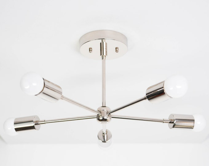 Houston Chandelier [Polished Nickel - Mid Century - Industrial - Modern - Sputnik - Pinwheel - 5 Arm - 5 Light - UL Listed]