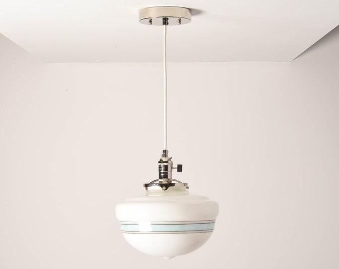 Sumner Pendant Light [Polished Nickel - Mid Century - Modern - Industrial - Turquoise Blue - Painted Banding - Schoolhouse Glass Globe]