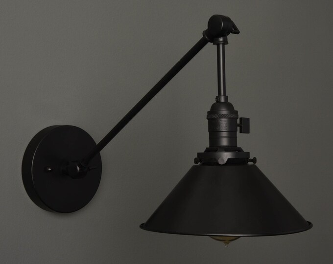 Wall Sconce - Matte Black - Mid Century - Modern - Industrial - Wall Light - Articulating - Boom - Bathroom Vanity - Art Light [VILAS]