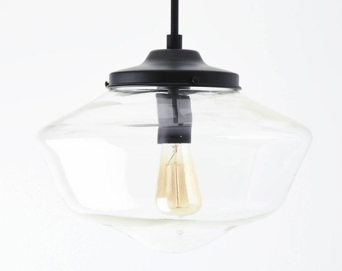 Pendant Light - Matte Black - Mid Century - Modern - Industrial - Clear - 14 inch - Schoolhouse Glass Globe [CARBONDALE]