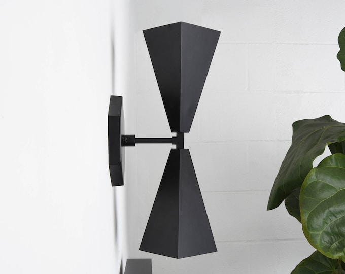 Ultra Modern Up Down Light in Matte Black with Hexagon Canopy Very Unique UL Listed [ANDERSON