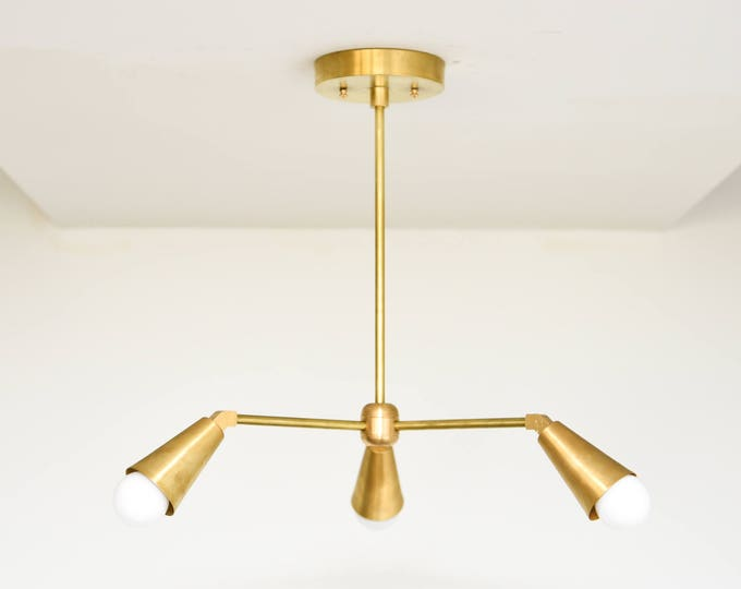 Brass Sputnik Light -  Modern Chandelier Lighting - Mid Century - Industrial - Pinwheel - Sputnik - Hanging Light - UL Listed [WINSTED]