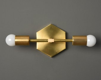 Wall Sconce - Raw Brass - Mid Century - Industrial - Modern - Art Light - Wall Light - Bathroom Vanity - Hexagon - UL Listed [ATHENS]