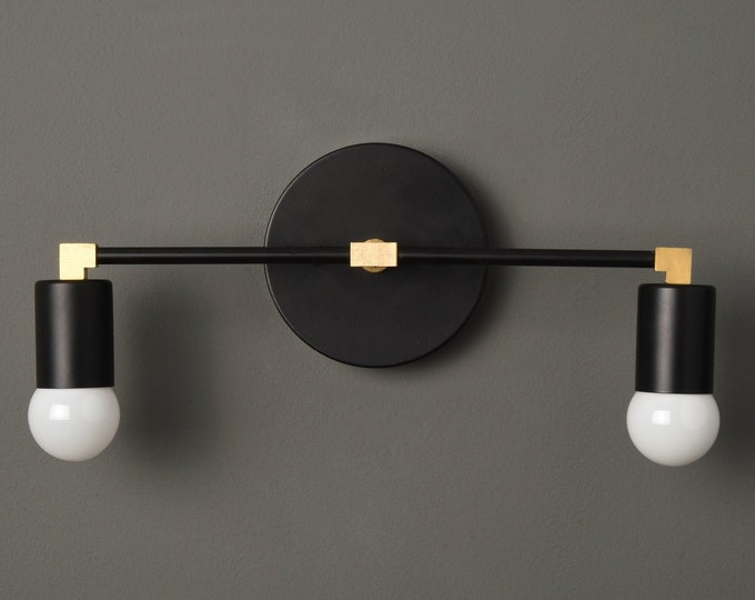 Modern Bathroom Light - Mid Century Wall Sconce - Black & Brass - Industrial - Wall Light - Bathroom Vanity - UL Listed [ARVADA]