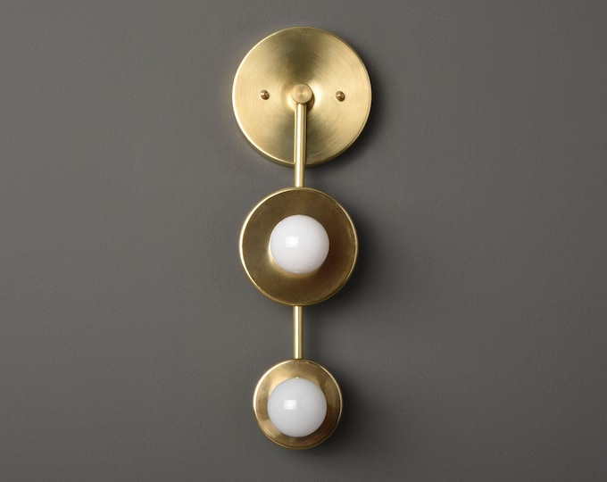 Gold Vanity Light - Gold Sconce - Raw Brass Light - Mid Century - Modern - Industrial - Bathroom Vanity - UL Listed [ALEDO]