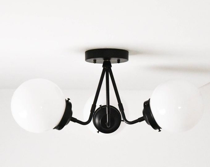 Semi Flush Ceiling Light - Matte Black - Mid Century - Industrial - Modern - Glass Globe - Lighting - UL Listed [FRESNO]