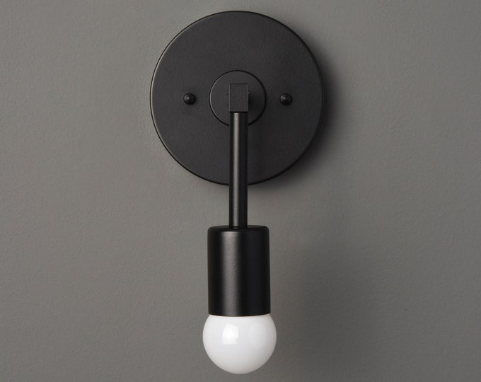 Wall Sconce - Matte Black - Mid Century - Modern - Industrial - Wall Light - Bathroom Vanity - Art Light - UL Listed [FRASER]