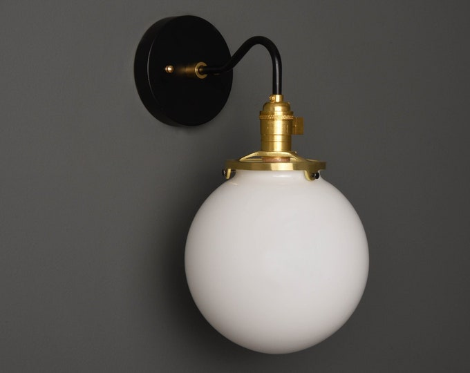 Wall Sconce - Black & Brass - Mid Century - Modern - Industrial - Clear 8 Inch Glass Globe - Vanity - Art Light - UL Listed [ALTHA]