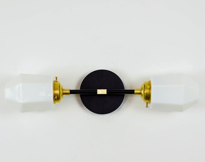 Wall Sconce - Black & Brass - Mid Century - Modern - Industrial - 2 Light - White Geometric Globe - Vanity - Bathroom - UL Listed [KERSEY]