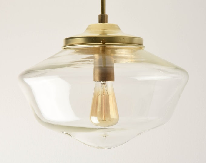 Pendant Light - Raw Brass - Mid Century - Modern - Industrial - Clear - 14 inch - Schoolhouse Glass Globe [CARBONDALE]