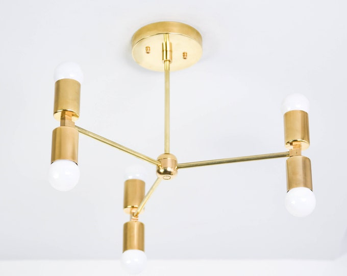 Modern Chandelier Lighting - Brass Sputnik Light - Mid Century - Industrial - Pinwheel - Hanging - Large - UL Listed [CHICAGO]
