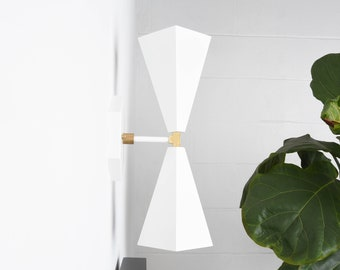 Modern Wall Sconce - White Gold Light - Brass Gold - Mid Century - Wall Light - Hall Light - Bathroom Vanity - UL Listed [ANDERSON]