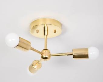 Tokyo Semi Flush [Raw Brass - Mid Century - Industrial - Modern - Pinwheel - Sputnik - 3 Arm - Minimal - Light - UL Listed]