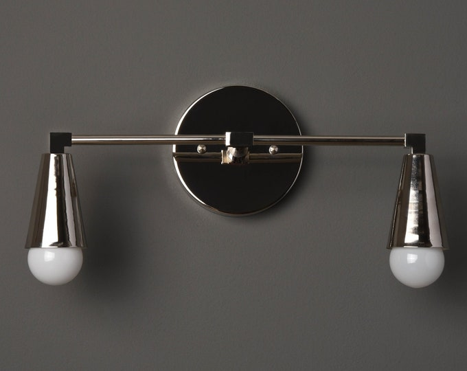 Wall Sconce - Polished Nickel - Mid Century - Modern - Industrial - Wall Light - Bathroom Vanity - Art Light - UL Listed [DANBURY]
