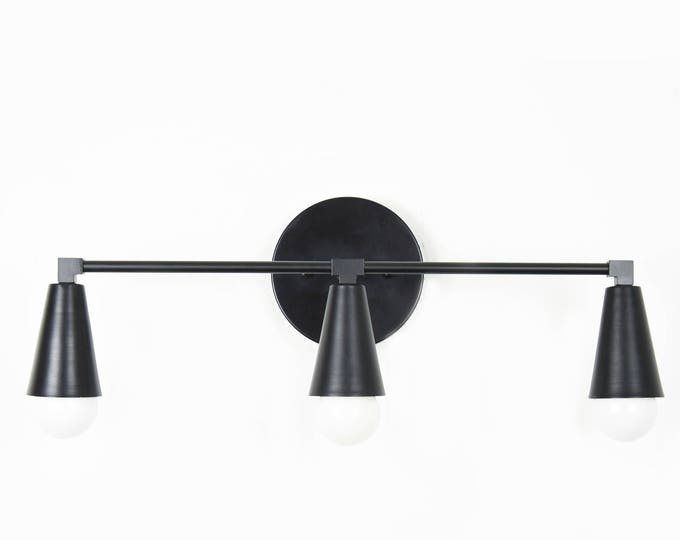 Wall Sconce Vanity Matte Black 3 Bulb Cone Covers Round Base Modern Downward Abstract Mid Century Art Light Bathroom UL Listed