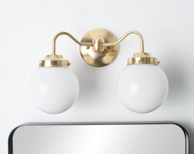 Modern Globe Light - Gold Wall Light - Mid Century - Industrial - Glass Globe - Bathroom Vanity - UL Listed [NORWOOD]