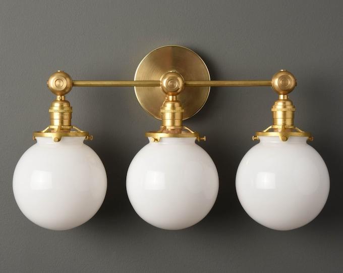 Gold Vanity Light - Modern Wall Sconce - Mid Century - Industrial - Bathroom Vanity - Glass Globes - Wall Light - UL Listed [PENSACOLA]
