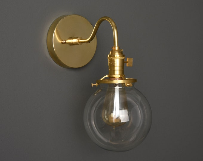 Wall Sconce - Raw Brass - Mid Century - Modern - Industrial - Single Light - Clear Glass Globe - Bathroom Vanity - UL Listed [ALFORD]