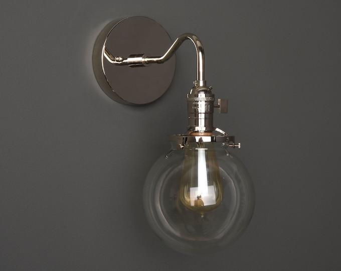 Wall Sconce - Polished Nickel - Mid Century - Modern - Industrial - Single Light - Clear Glass Globe - Bathroom Vanity - UL Listed [ALFORD]