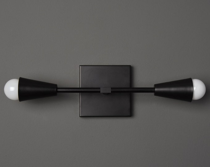 Industrial Vanity Light - Wall Sconce - Matte Black - Mid Century - Modern - Wall Light - Bathroom Vanity - UL Listed [WALDEN]