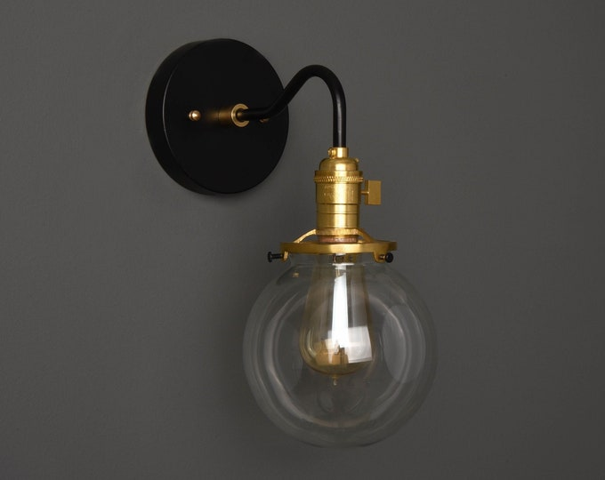 Wall Sconce - Black & Brass - Mid Century - Modern - Industrial - Single Light - Clear Glass Globe - Bathroom Vanity - UL Listed [ALFORD]