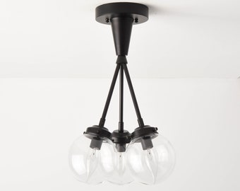 Irvine Semi Flush [Matte Black - Mid Century - Modern - Industrial - Candelabra - Glass Globe - Triple Light - UL Listed]