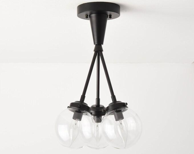 Semi Flush Ceiling Light - Matte Black - Mid Century - Modern - Industrial - Candelabra - Glass Globe - UL Listed [IRVINE]