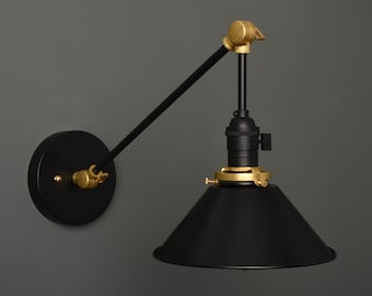 Wall Sconce - Black & Brass - Mid Century - Modern - Industrial - Wall Light - Articulating - Boom - Bathroom Vanity - Art Light [VILAS]