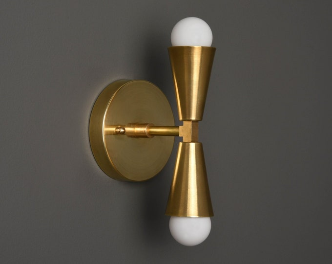 Modern Wall Sconce - Gold Sconce - Raw Brass Light - Mid Century - Modern - Industrial - Bathroom Vanity - UL Listed [ANSONIA]
