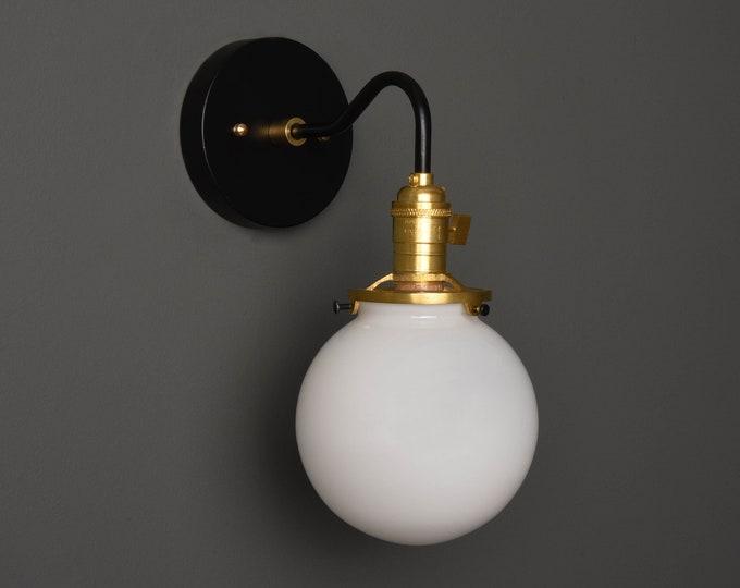 Wall Sconce - Black & Brass - Mid Century - Modern - Industrial - Single Light - White Glass Globe - Bathroom Vanity - UL Listed [ALFORD]