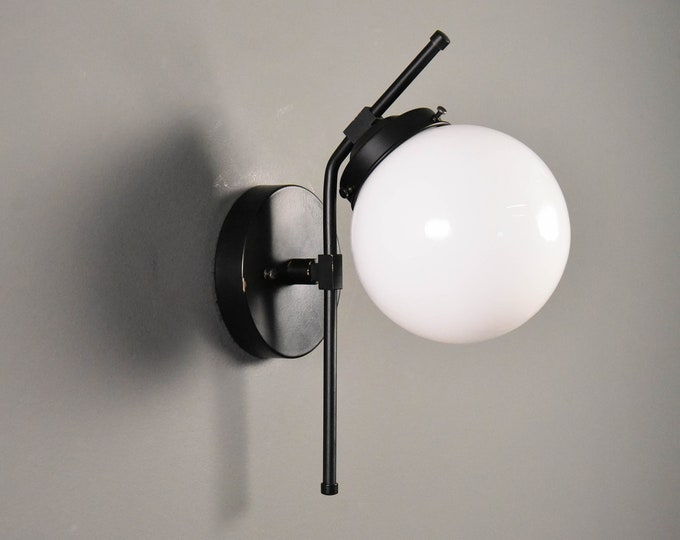 Wall Sconce - Matte Black - Mid Century - Modern - Industrial - Wall Light - Glass Globe - Bathroom Vanity - Art Light - UL Listed [ERIE]
