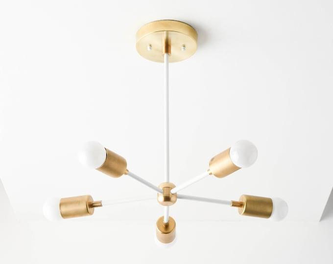 Sputnik Chandelier - White & Gold Hanging Light - Mid Century - Modern Lighting - Industrial - Pinwheel - UL Listed [HOUSTON]