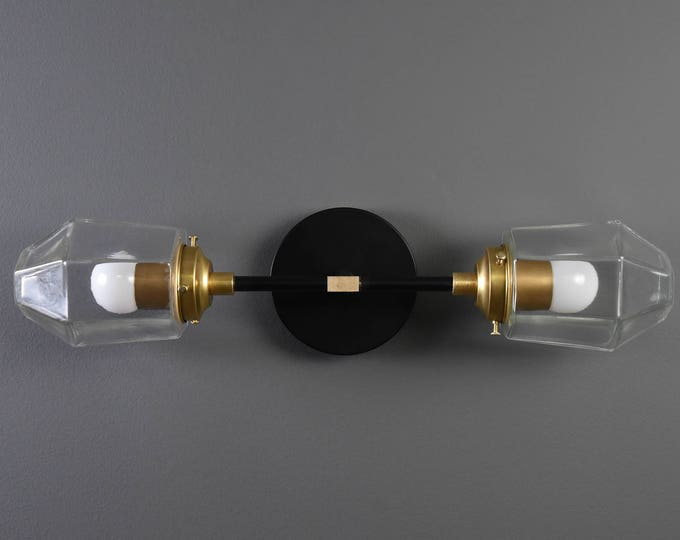 Wall Sconce - Black & Brass - Mid Century - Modern - Industrial - Wall Light - Clear Geometric Globe - Bathroom Vanity - UL Listed [KERSEY]