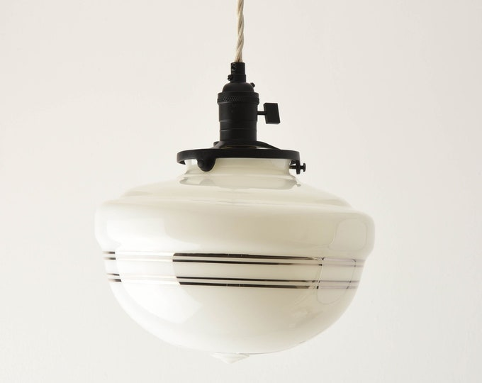 Pendant Light - Matte Black - Mid Century - Modern - Industrial - White - Silver Painted Banding - Schoolhouse Glass Globe [SUMNER]