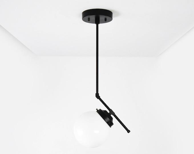 Globe Pendant Light - Matte Black - Mid Century - Modern - Industrial - Glass Globe - Vanity - UL Listed [ROSEMEAD]