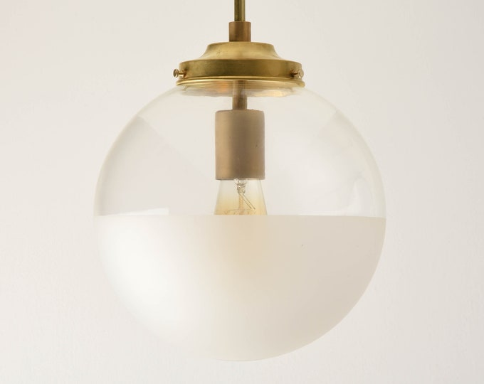 Globe Pendant Light - Raw Brass - Mid Century - Modern - Industrial - Half Frosted - 10 inch - Glass Globe [ASTORIA]