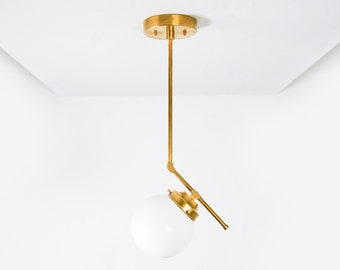 Rosemead Pendant Light [Raw Brass - Mid Century - Modern - Industrial - Glass Globe - Vanity - Single Light - UL Listed]