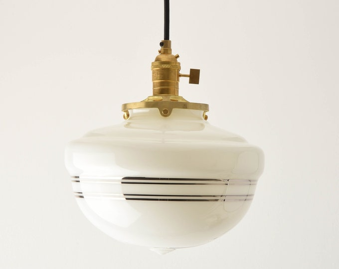 Pendant Light - Raw Brass - Mid Century - Modern - Industrial - White - Silver Painted Banding - Schoolhouse Glass Globe [SUMNER]
